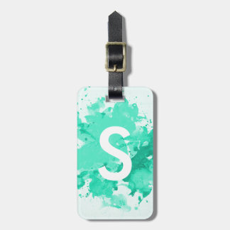 Colorful turquoise watercolor splatters monogram luggage tag