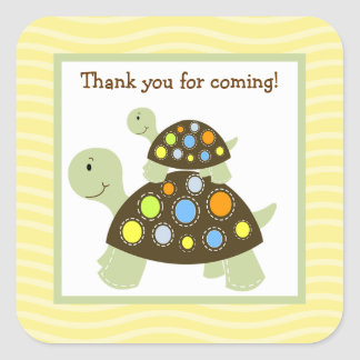 Colorful Turtle (Yellow) Square Envelope Seals 20 Square Sticker