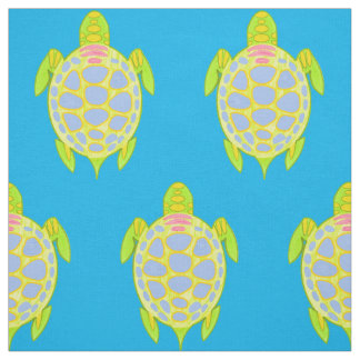 Colorful turtles in the sea fabric