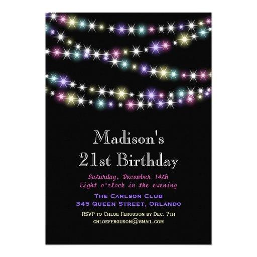 Colorful Twinkle Lights 21st Birthday Invitation
