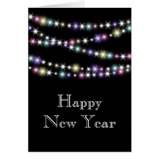 Colorful Twinkle Lights Happy New Year Card