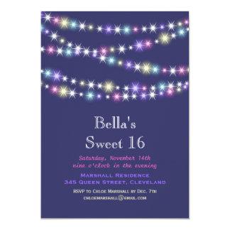 Colorful Twinkle Lights Sweet 16 Invitation purple