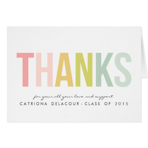 COLORFUL TYPOGRAPHY | GRADUATION THANK YOU CARD