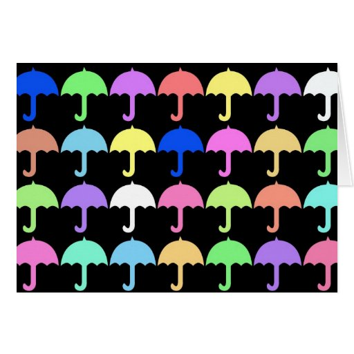 Colorful Umbrellas Greeting Card