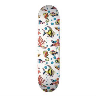 Colorful Underwater Sea Life Pattern 21.6 Cm Old School Skateboard Deck