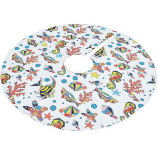 Colorful Underwater Sea Life Pattern Brushed Polyester Tree Skirt