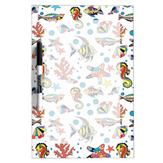 Colorful Underwater Sea Life Pattern Dry Erase Board