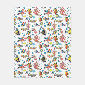 Colorful Underwater Sea Life Pattern Fleece Blanket