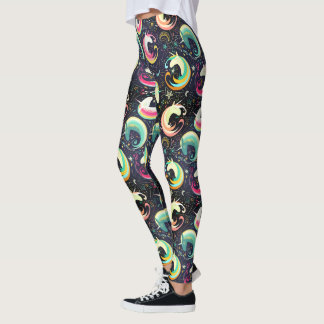 Colorful Unicorns Seamless Pattern Yoga Running Leggings