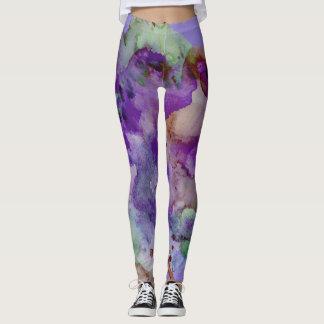 Colorful, Unique, Paint Splatter Purple & Green Leggings