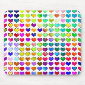 Colorful Valentine Rainbow Hearts Mousepad