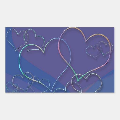 Colorful Valentine Sweethearts Love Designer Rectangular Stickers