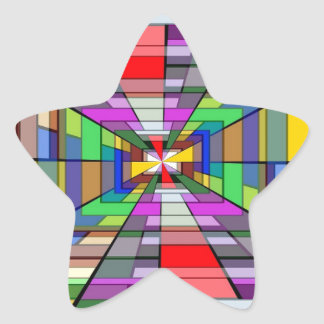COLORFUL VANISHING POINT RECTANGLE SHAPES OPTICAL STAR STICKER