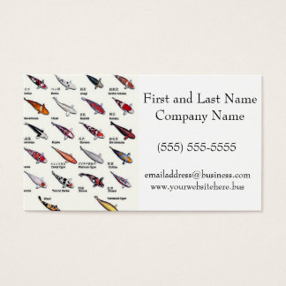 Colorful Varieties of Koi Fish Drawing Pattern Business Card