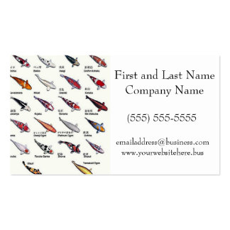 Colorful Varieties of Koi Fish Drawing Pattern Pack Of Standard Business Cards