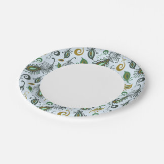 Colorful Various Feathers Paper Plate