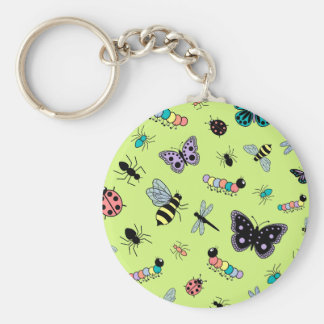Colorful Vector Bugs Butterflies Green Back Keychains