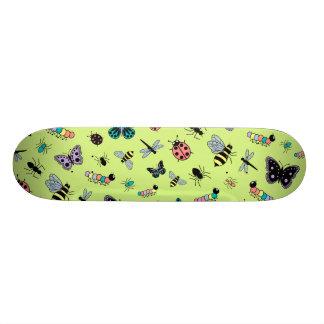 Colorful Vector Bugs & Butterflies (Green Back) Skate Deck