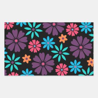 Colorful Vector Flower Pattern Rectangular Sticker