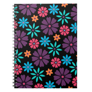Colorful Vector Flower Pattern Spiral Note Books