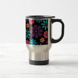 Colorful Vector Flower Pattern Stainless Steel Travel Mug
