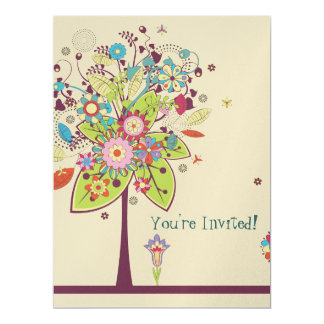 colorful vector flower tree bliss birthday card