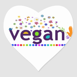 Colorful Vegan Heart Sticker