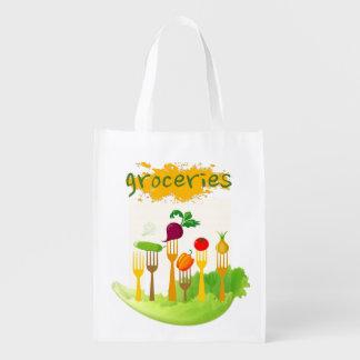 Colorful Veggie-Themed Reusable Bag