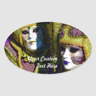 Colorful Venetian Couple With Carnival Masks Oval Sticker