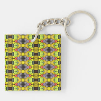 Colorful vertical pattern Double-Sided square acrylic key ring