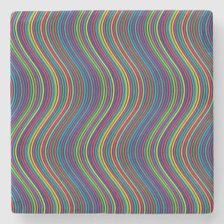 Colorful vertical waves stone coaster