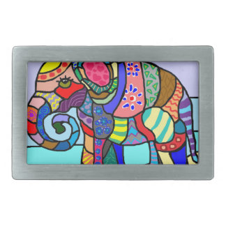 Colorful vibrant abstract folcloristic elephant belt buckle