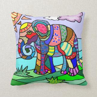 Colorful vibrant abstract ornamental elephant cushion