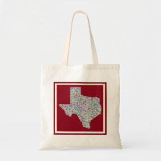 Colorful Vibrant Map of Texas Budget Tote
