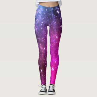 Colorful Vibrant Pink Stars Galaxy Leggings