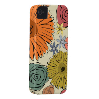 Colorful vintage abstract spring flowers iPhone 4 Case-Mate cases