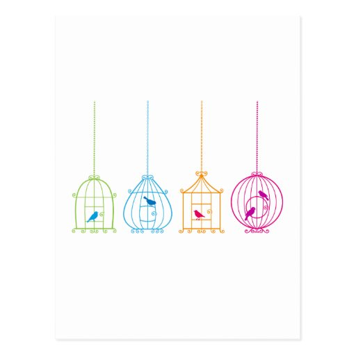 Colorful vintage birdcages with cute birds post card