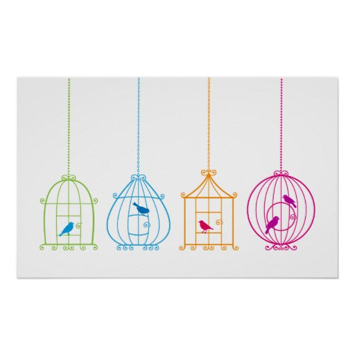 Colorful vintage birdcages with cute birds posters