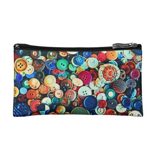 Colorful Vintage Buttons Makeup Bag