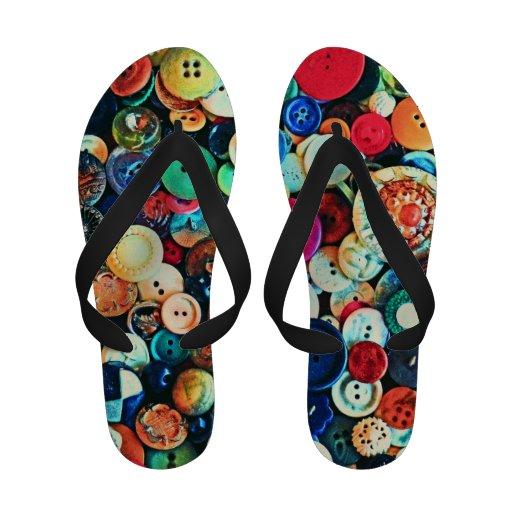 Colorful Vintage Buttons Sandals