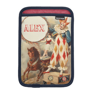 Colorful Vintage Circus Clown Monogram iPad Mini Sleeve