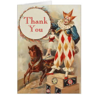 Colorful Vintage Clown Children's Thank You Card