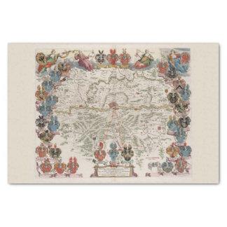 Colorful Vintage Figures & Emblems Old World Map Tissue Paper