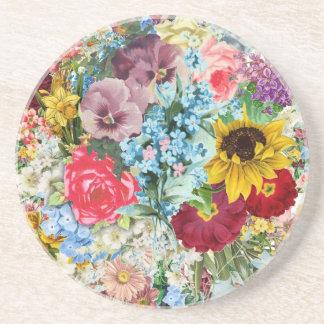 Colorful Vintage Floral Coaster