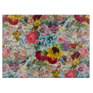 Colorful Vintage Floral Cutting Board