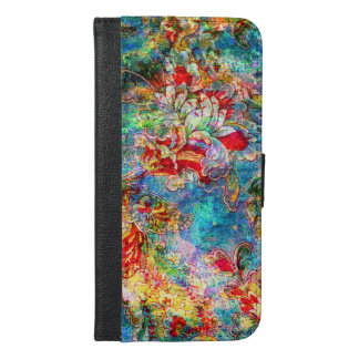 Colorful Vintage Floral Design iPhone 6/6s Plus Wallet Case