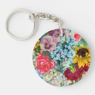 Colorful Vintage Floral Double-Sided Round Acrylic Key Ring