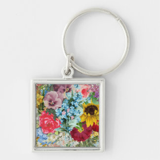 Colorful Vintage Floral Keychains