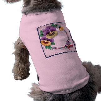 Colorful Vintage Floral Pansy Pet Shirt