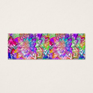Colorful Vintage Floral Pattern Drawing Watercolor Mini Business Card